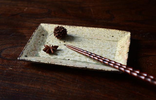 尾形アツシ ヒビ粉引長皿