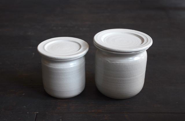 角田淳 白磁味噌つぼ