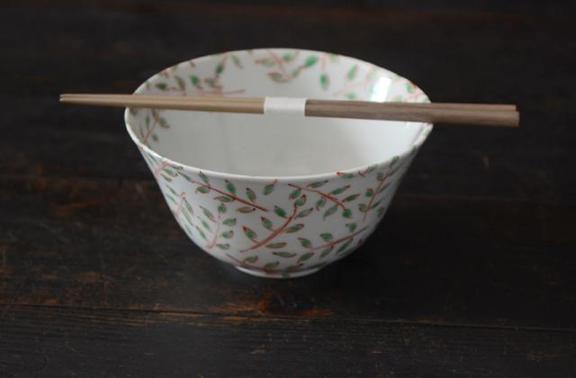 古川桜 赤絵木の芽文麺鉢