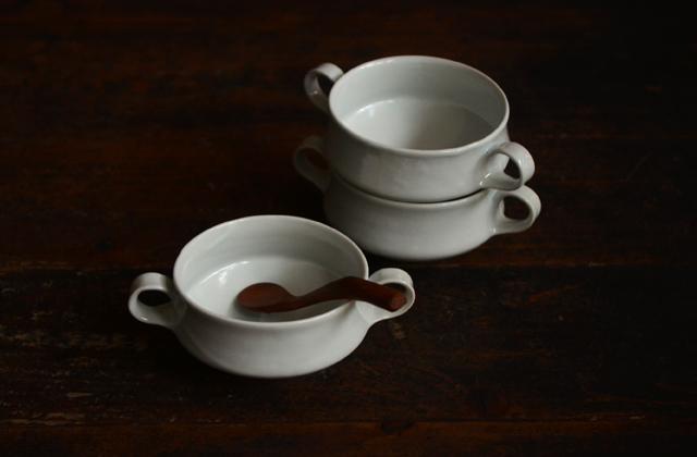 土井善男 乳白釉スープカップ 両手付き